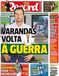 capa Jornal Record de 20 março 2020