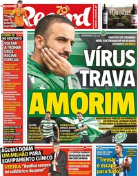 capa Jornal Record de 21 março 2020