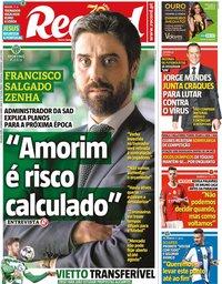 capa Jornal Record de 23 março 2020