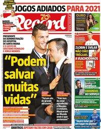 capa Jornal Record de 25 março 2020