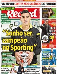 capa Jornal Record de 26 março 2020