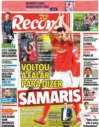 capa Jornal Record de 30 março 2020