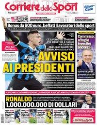 capa Corriere dello Sport de 3 abril 2020