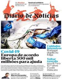 capa Diário de Notícias de 10 abril 2020