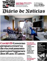 capa Diário de Notícias de 17 abril 2020