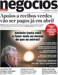 capa Jornal de Negócios de 1 abril 2020