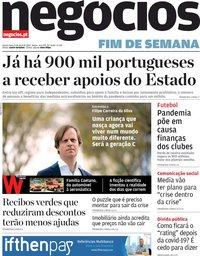 capa Jornal de Negócios de 9 abril 2020