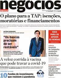 capa Jornal de Negócios de 10 abril 2020
