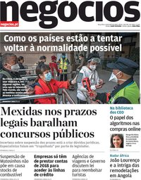 capa Jornal de Negócios de 14 abril 2020