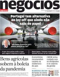 capa Jornal de Negócios de 15 abril 2020