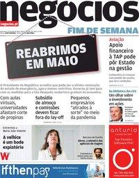 capa Jornal de Negócios de 17 abril 2020