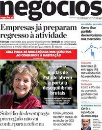 capa Jornal de Negócios de 20 abril 2020