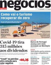 capa Jornal de Negócios de 21 abril 2020