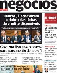 capa Jornal de Negócios de 23 abril 2020