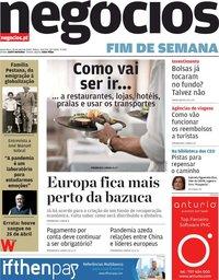 capa Jornal de Negócios de 24 abril 2020