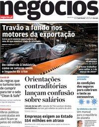 capa Jornal de Negócios de 27 abril 2020