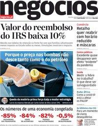 capa Jornal de Negócios de 28 abril 2020