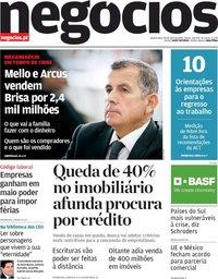capa Jornal de Negócios de 29 abril 2020