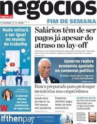 capa Jornal de Negócios de 30 abril 2020