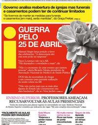 capa Jornal i de 20 abril 2020
