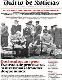 capa Diário de Notícias de 8 maio 2020