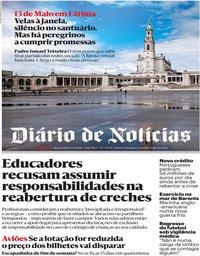 capa Diário de Notícias de 13 maio 2020