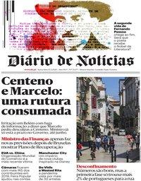 capa Diário de Notícias de 15 maio 2020