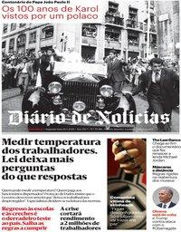 capa Diário de Notícias de 18 maio 2020