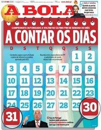 capa Jornal A Bola de 1 maio 2020