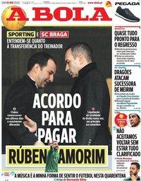 capa Jornal A Bola de 2 maio 2020