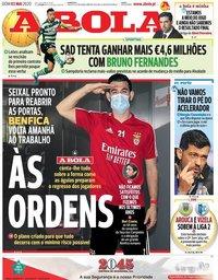 capa Jornal A Bola de 3 maio 2020