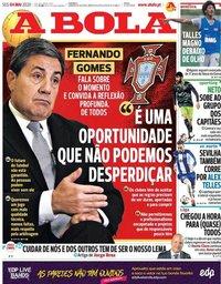 capa Jornal A Bola de 4 maio 2020
