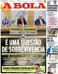 capa Jornal A Bola de 7 maio 2020