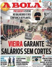 capa Jornal A Bola de 8 maio 2020