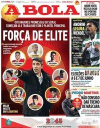 capa Jornal A Bola de 10 maio 2020