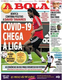 capa Jornal A Bola de 11 maio 2020