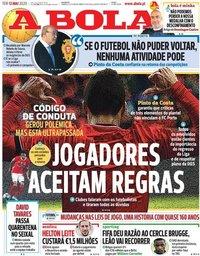 capa Jornal A Bola de 12 maio 2020
