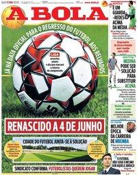 capa Jornal A Bola de 13 maio 2020