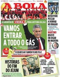 capa Jornal A Bola de 14 maio 2020