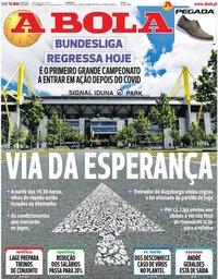 capa Jornal A Bola de 16 maio 2020