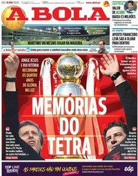 capa Jornal A Bola de 18 maio 2020