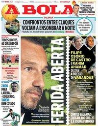 capa Jornal A Bola de 19 maio 2020