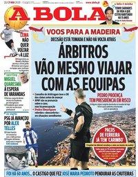 capa Jornal A Bola de 21 maio 2020