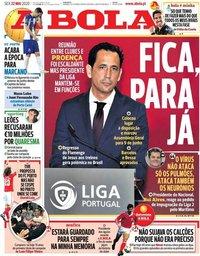 capa Jornal A Bola de 22 maio 2020