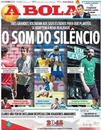 capa Jornal A Bola de 24 maio 2020
