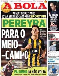 capa Jornal A Bola de 26 maio 2020
