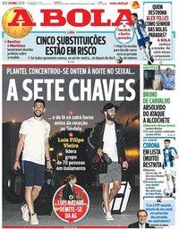 capa Jornal A Bola de 29 maio 2020