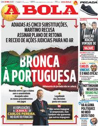 capa Jornal A Bola de 30 maio 2020