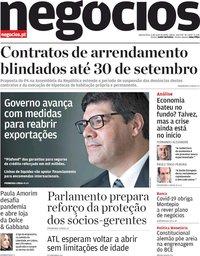 capa Jornal de Negócios de 6 maio 2020