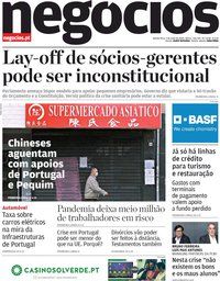 capa Jornal de Negócios de 7 maio 2020